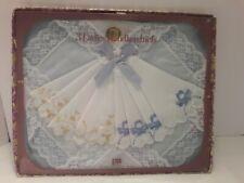 New In Box vintage 3 Ladies Handkerchiefs 100% cotton Embroidered-Bb