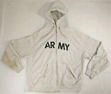 Army Sweatshirt Men XL Hooded Physical Fitness Uniform Full Zip Grey