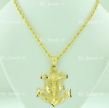 14k Yellow Gold Hollow Rope chain necklace & cross Anchor Pendant 22 in 11.4gram