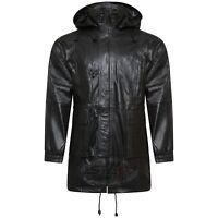 Boys/Girls 3/4 Long Toggle Kids Leather Jacket Black Detachable Hood Duffle Coat