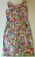 Beautiful Womens Pink Blue Purple Floral Patterned Dress F & F Size 10