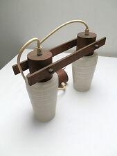 lustre suspension style scandinave bois, laiton et verre des années 60