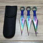 Naruto Kunai Knife Ninja Throwing Knife 3 Piece Set w Pouch Steel Blades USA