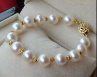 NATURAL 10-11MM SOUTH SEA WHITE ROUND PEARL BRACELET 14K GOLD CLASP