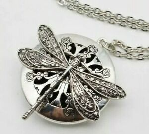 Dragonfly Pendant Necklace Essential Oil Diffuser Perfume Locket Aromatherapy