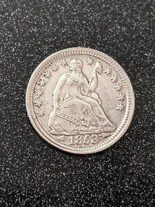 1853 Philadelphia Mint Silver Seated Half Dime Ch AU