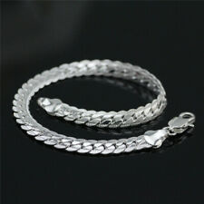 "Bracelet diamond cut ladies female women 8"" 925 sterling Silver 5mm curb chain"