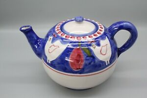Large blue and white Solimene chicken design ceramic teapot - made in Italy