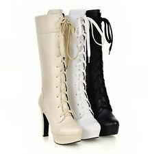 Ladies' Lace Up Shoes Synthetic Leather Platform High Heels Boots UK Size b111