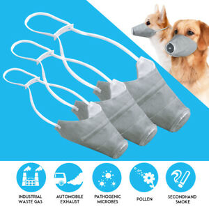Pet Dog Muzzle Bark Bite Mesh Mouth Grooming Anti Stop Chewing Gray