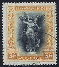 Barbados 1920 SG 211 3/- Black & Dull Orange Superb Used Cat. £95.00