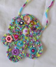 Handmade Art Necklace Crocheted Thread Blues Pinks Purples Wooden Beads Gift
