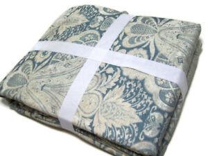 Pottery Barn Multi Colors Grayish Blue Janelle Cotton Full Queen Duvet Cover New
