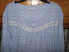 WOMENS NIGHTGOWN SIZE LARGE XL PERIWINKLE LONG GOWN BLUE & WHITE RETAIL  $44.00