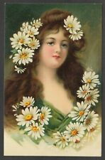 Postcard Glamour Art girl with Daisy flowers in hair Antique
