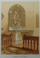 Antique lithograph print - Monument of Lord Bacon - Leighton Bros