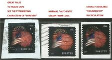 RARE #2 Counterfeit & Real Ft.McHenry Flag/Fireworks Stamps on Piece Scott 4868