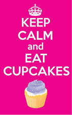 KEEP CALM AND EAT CUPCAKES - PINK - VINYL STICKER  - Novelty 12 cm x 8 cm
