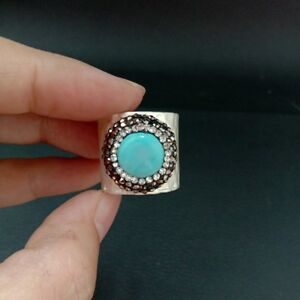 20MM Coin Blue Turquoise Cuff Ring