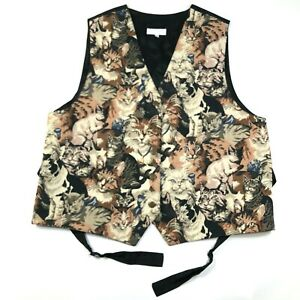 Vintage Lord & Taylor Womens 2XL Cotton Cats Kittens Vest Button Front V Neck