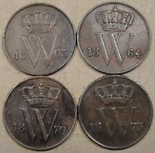 Netherlands 4 Cents 1863,64,70,+73 Low-Better Grade as Pictured