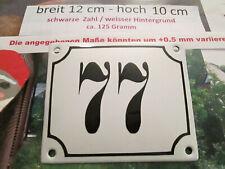 Hausnummer Emaille Nr. 77 schwarze Zahl auf weißem Hintergrund 12 cm x 10 cm