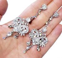 Chandelier Drop Earrings, 3.5 Inch Bridesmaid Earrings, Prom Pageant Jewelry