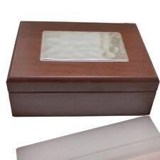Scatola portagioie in legno marrone 15x20 con lamina argento 925 ondulata 12x8