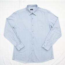 Ermenegildo Zegna Mens CASUAL Summer Shirt Long Sleeve GRAY BLUE Pattern 2XL