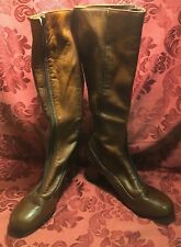 VTG BREVITT Brown Leather Mid Calf Boots, Red Lined, Nancy Size 8.5 Woman's New