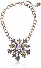 BETSEY JOHNSON Spring Fling Purple Green Bug Flower Rose Gold-Tone Necklace $95