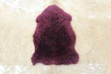 Natural Sheepskin Rug Real Soft Sheep Fur Area Rug Single Pelt 2x3 ft Maroon Rug