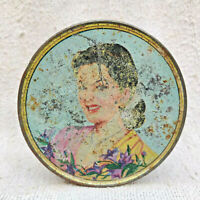 Vintage Sunita Toilet Powder Advertising Tin Box Round Beautiful Lady Print