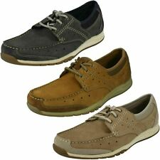 MENS CLARKS RAMADA ENGLISH NUBUCK LACE UP CASUAL SUMMER MOCCASIN BOAT SHOES SIZE