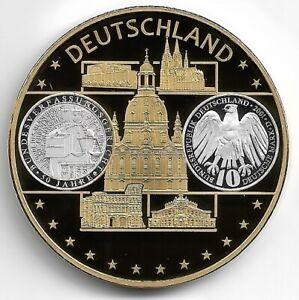 Europa-Medaille Deutschland 1 Cu-Ni vergoldet mit Silber-Auflage 40 mm, 28 Gramm