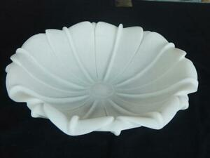 Handmade Bowl Lotus Bowl Hand Carved White Marble Stone Flower Home Decorative