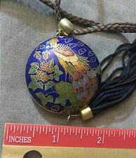 Vintage Art Deco Enamel Cloisonne Peacock Pendant Necklace