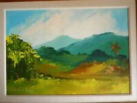 ORIGINAL ACRYLIC PAINTING OF LANDSCAPE ARTIST SIGNED KENNETH ABENDANA SPENCER