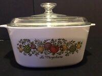 Corning Ware Spice of Life A-3-B 3 liter quart casserole Dutch oven Pyrex lid
