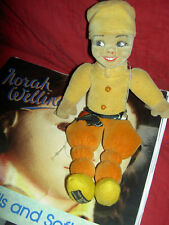 Labeled Norah Wellings Brown ethnic, TURKO, 1938 vintage cloth doll, model #955