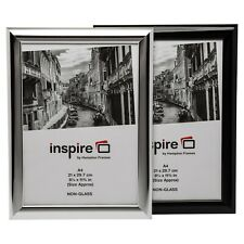More details for a4 certificate photo frame shiny black or silver for home office wall or table