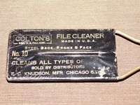 VINTAGE MADE USA TOOL COLTON'S STEEL BACK FRAME & FACE NO. 10 FILE CLEANER