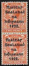 Ireland 1922 KGV SG33 2d Orange Vertical Pair MNH Mint OG Paste-Up