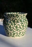 Vintage Green White Spongeware Pot Jar Roseville Ohio MCM