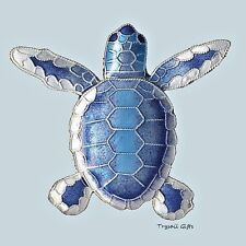 Blue Flatback Hatchling TURTLE Cloisonne PIN by Bamboo Jewelry STERLING SILVER