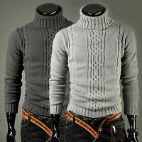 Winter Men Knitted Polo Roll Turtle Neck Pullover Jumper Knitwear Woolen Sweater