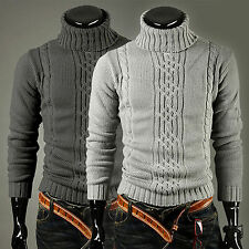 Fashion Men Winter Knitted Polo Roll Turtle Neck Pullover Jumper Woolen Sweater