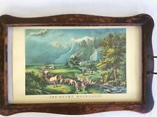 Vintage Currier and Ives Lithograph Rocky Mountain Emigrants Crossing the Plains