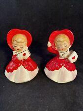 Vintage Lefton Japan Ceramic Valentines Day Girls (2) with Heart Figurines #033