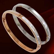 Natural Shell 3-stones CZ Bracelet Women's Titanium Steel Bangle Wedding Jewelry